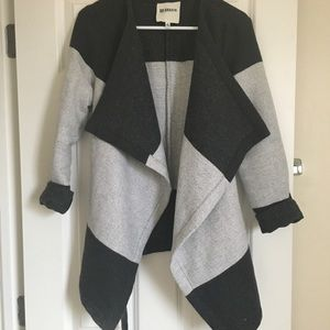 Grey Striped BB Dakota Front Drape Jacket Sweater